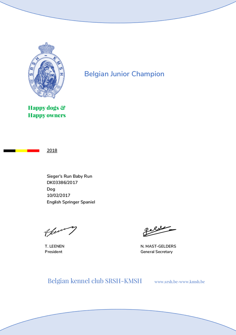 Siegers Run Baby Ist Belgischer Junior Champion Is Belgian